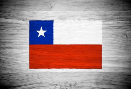 bandera chile: Bandera de Chile en la textura de la madera Foto de archivo