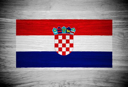 Croatia flag on wood texture Stock Photo - 21943200