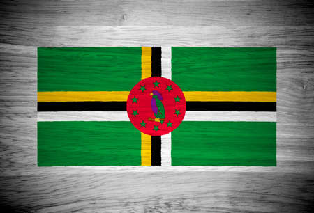 dominica: Dominica flag on wood texture
