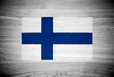 bandera de finlandia: Bandera de Finlandia en la textura de la madera Foto de archivo