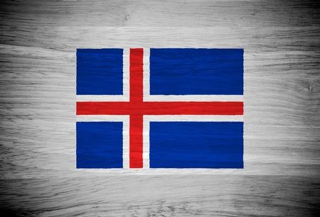flag of iceland: Bandera de Islandia en la textura de la madera Foto de archivo