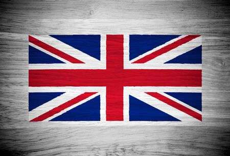UK flag on wood texture photo