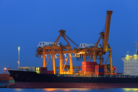 Container Cargo in twilight photo