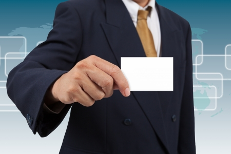businesscard: Businessman show a blank businesscard Stock Photo
