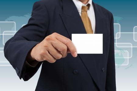 businesscard: Businessman show a blank businesscard Stock Photo