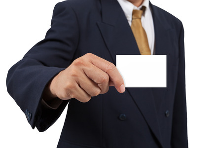 businesscard: Businessman show a blank businesscard isolated on white background Stock Photo