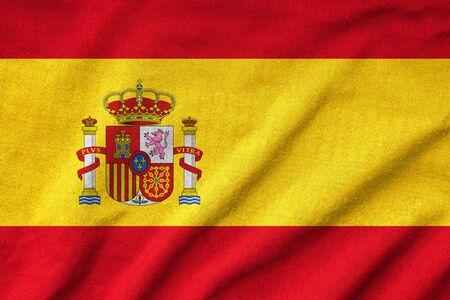rumple: Ruffled Spain Flag Stock Photo