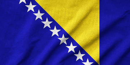Ruffled Bosnia and Herzegovina Flag photo