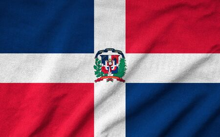 Ruffled Dominican Republic Flag photo