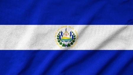 el salvador: Ruffled El Salvador Flag Stock Photo