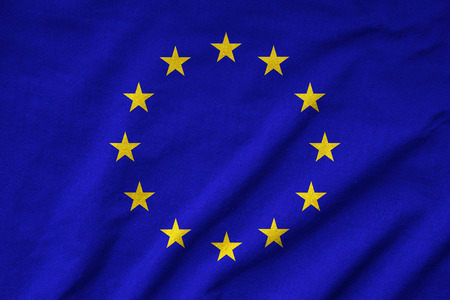 Ruffled EU Flag Stock Photo