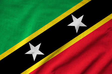 Ruffled Saint Kitts and Nevis Flag Stock Photo - 22832479