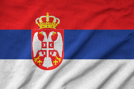 Ruffled Serbia Flag photo