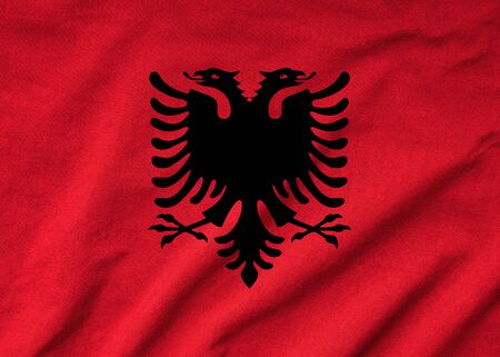 Ruffled Albania Flag Stock Photo - 22832408