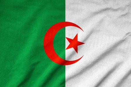 algeria: Ruffled Algeria Flag Stock Photo