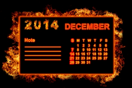 december kalender: Brand Kalender december 2014 Stockfoto