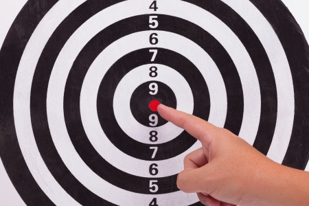 Hand point to red bulls eye target photo