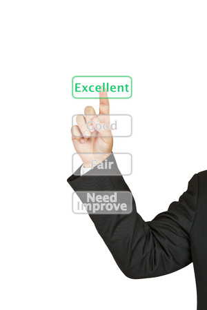Businessman push excellent button Stock Photo - 25340229