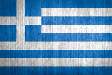 Greece Flag on wood background photo
