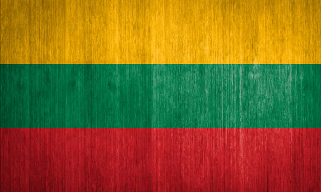 Lithuania Flag on wood background photo