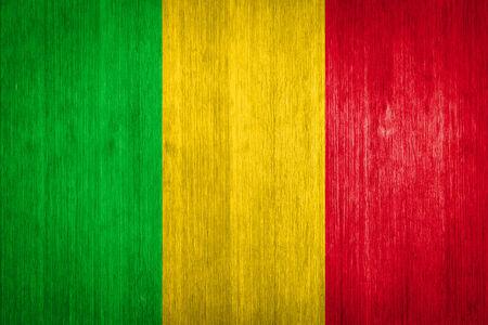 Mali Flag on wood background photo