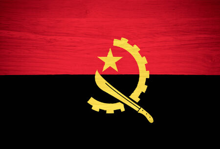 Angola flag on wood texture photo