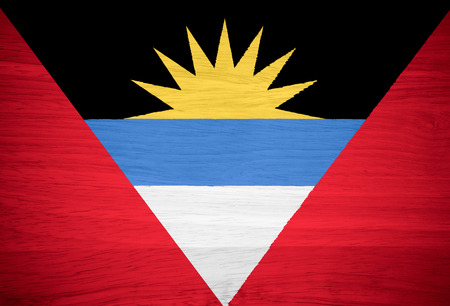 antigua flag: Antigua and Barbuda flag on wood texture Stock Photo