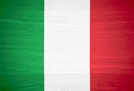 bandiera italiana: Bandiera Italia su struttura di legno Archivio Fotografico