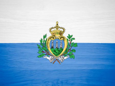 San Marino flag on wood texture photo
