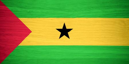 tome: Sao Tome and Principe flag on wood texture
