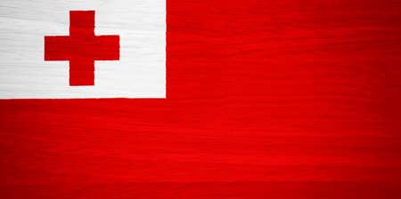 tonga: Tonga flag on wood texture Stock Photo