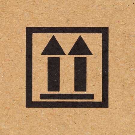 Close up up icon on paper box background