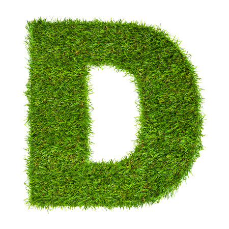 d: Letter D made of green grass isolated on white Stock Photo