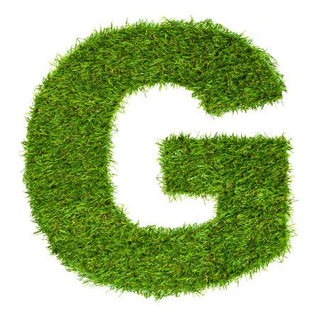 글자 G 화이트 절연 푸른 잔디로 만든 스톡 콘텐츠