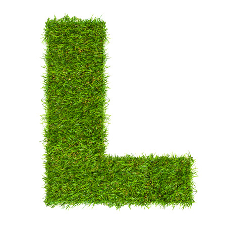 Letter L made of green grass isolated on white 写真素材