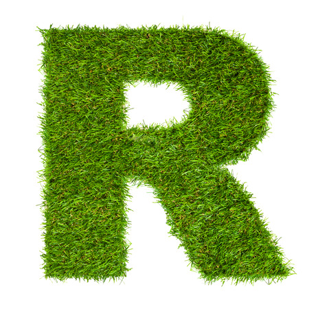 Letter R made of green grass isolated on white