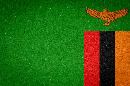 zambia flag: Zambia flag on paper background
