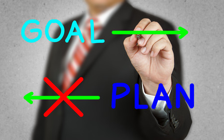 failed plan: Businessman drawing concept of goal and plan