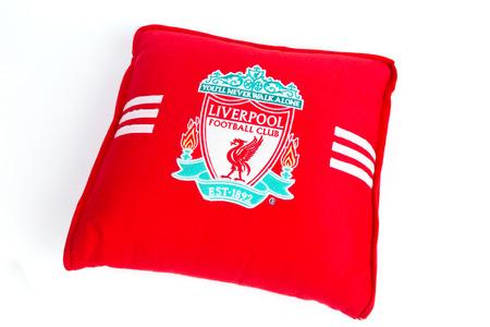 illustrative: BANGKOK, THAILAND - JANUARY 08, 2015: red pillow with Liverpool logo on 8 January 2015 in Bangkok Thailand.