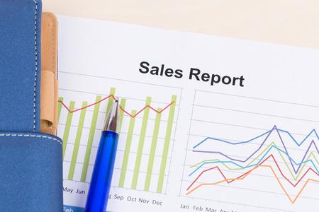 cuadro sinoptico: hoja de informe anual de las ventas con la pluma azul Foto de archivo