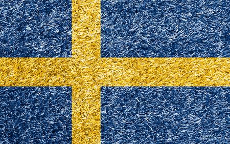 bandera suecia: Bandera de Suecia en la hierba textura de fondo
