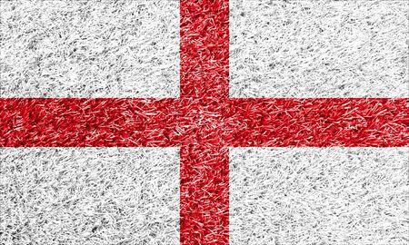 drapeau anglais: drapeau anglais sur l'herbe texture de fond Banque d'images