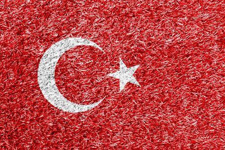 carpet clean: Turkey flag on grass background texture Stock Photo