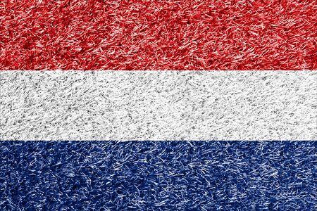 carpet clean: Netherlands flag on grass background texture