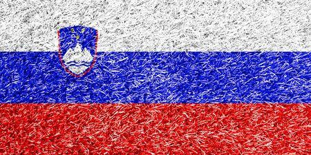 carpet clean: Slovenia flag on grass background texture