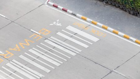 ourdoor: zebra crossing, on urban asphalt road for passenger or people and transportation at night time, top view