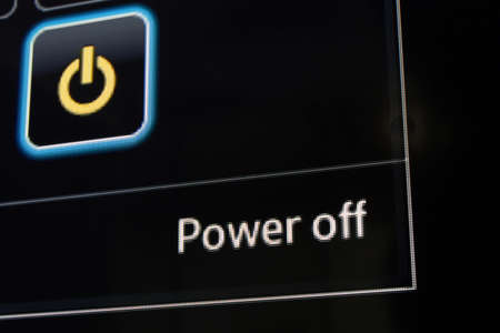 power off: Power off on computer screen with black ground Stock Photo