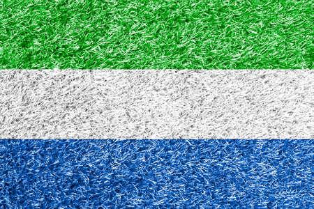 carpet clean: Sierra Leone flag on grass background texture Stock Photo