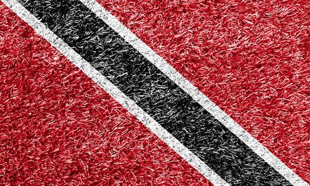 carpet clean: Trinidad and Tobago flag on grass background texture Stock Photo