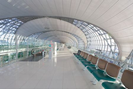concourse: SAMUTPRAKARN, THAILAND - MAY 21: The main concourse of Suvarnabhumi Airport, designed by Helmut Jahn is the worlds third largest single-building airport terminal on May 21, 2015 in Bangkok, Thailand.